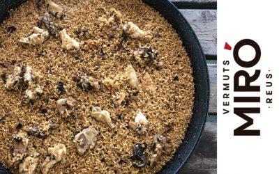 Paella de buey con arroz de estilo montanyes y Vermut Miró