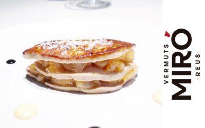 Milhojas de foie con tartar de gamba y manzana confitada al Vermut Miró
