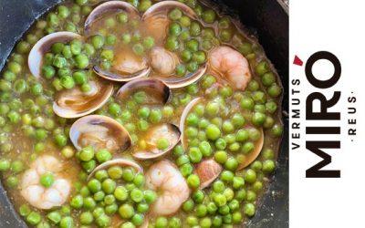 Guisantes con almejas y gambas al aroma de Vermut Miró