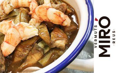Alcachofas salteadas con setas, gambas, jugo de asado y Vermut Miró Negro