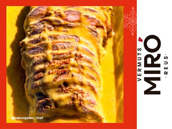 Rodó de vedella amb mel i Vermut Miró Reserva